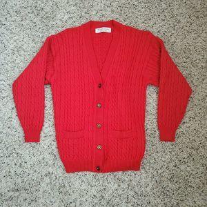 Vtg Burberry Women Sweater Cardigan Wool S/M